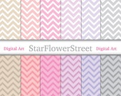 Instant Download - Pink & Soft Purple Chevron Digital Paper Pack 8.5x11 12x12 - neutral pink purple gray on white scrapbooking card making