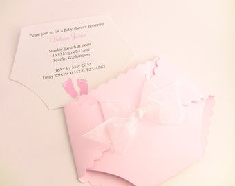 Customize Any Color, 10 Diaper Baby Shower Invitation, Thank You, or New Baby Announcement Cards, Baby Girl Pink