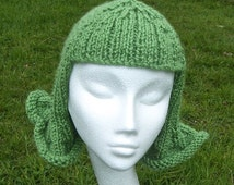 PDF Pattern. Fun and Funky  Hat Wig Chemo Cap. A knitting pattern with photo tutorial.