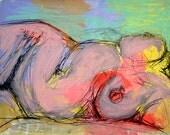 Curvy, 8x10 PRINT,colorful pink and aqua fine art print of a curvy nude female torso