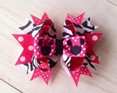 Pink and Zebra Stripe Minnie Mouse Inspired Bow