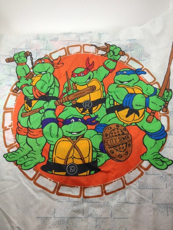 Ninja Turtle Bed Sheet Set Twin Teenage Mutant 80s Flat Fitted