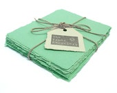 Mint green handmade paper, recycled, deckle edge, 10 small sheets, A2 card size