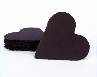 Black hearts, handmade paper, recycled, deckle edge, set of 10
