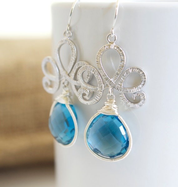 Faceted Blue Quartz Dangle Earrings, Faceted Blue Earrings, Silver and Blue Earrings, Bridal Earrings, Silver Earrings