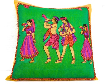 Embroidered Pillow, Green Pillow Cover, Green Cushion, Pink Purple, Vibrant, Colorful, Dance, Musicians, Unique, Handmade- 'Dancing Pillow'