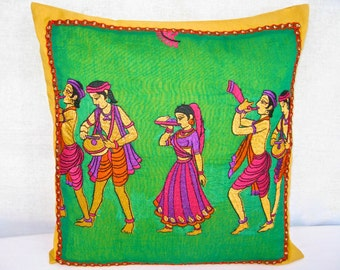 Bright Pillow, Green PIllow, Green Cushion Cover, Embroidered, Pink Purple Orange, Vibrant, Musicians, Unique, Handmade- 'Colorful India'