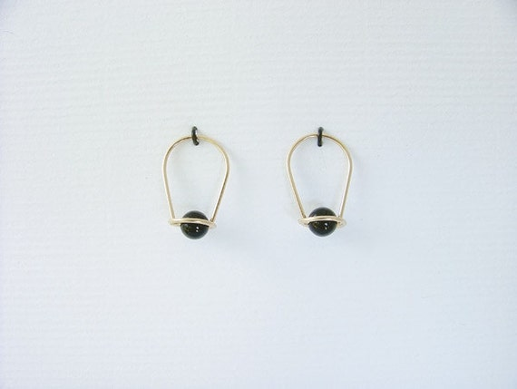 Designer Sleeper Earrings, gold filled & black onyx, classic,  sterling silver, anodized niobium, Choice of Beads