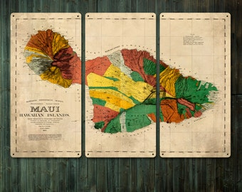 """Vintage Map of Maui Hawaii METAL triptych 36x24""""FREE SHIPPING"""