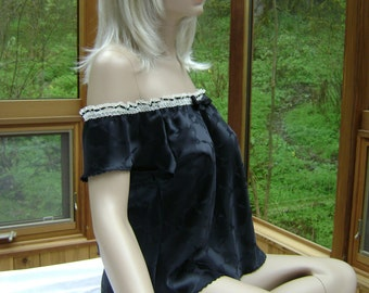 Camisole Patrice in Black Silk Floral Jacquard with Hand Embroidery and French Cotton Lace