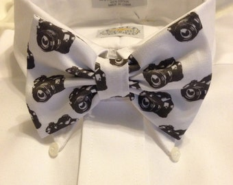 Black and white DSLR Camera Bow Tie
