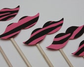 STACHE STICKS Pink Zebra (Set of 8  hand cut stache sticks)