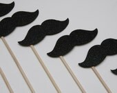 SPARKLE STACHE STICKS Black Glitter (set of 8 sparkle stache sticks)