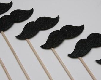 SPARKLE STACHE STICKS Black Glitter (set of 8 sparkle stache sticks)