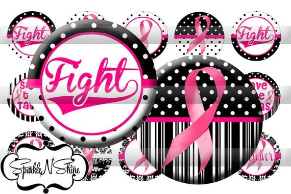Instant Download Bottle Cap Image Sheet - Breast Cancer Awareness - 1 inch Circles