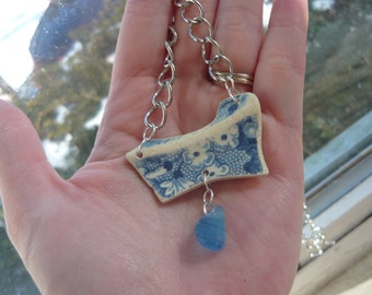Rare Wedgewood Blue Beach Pottery Necklace with Unique Ocean Blue Beach Glass