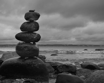 Rock Photography, Zen Photo, Lake Michigan, Traverse City, Old Mission, Yoga Photo, Michigan Photography, Black and White