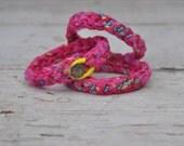 Crochet Layering Bracelet Hot Pink Fabric