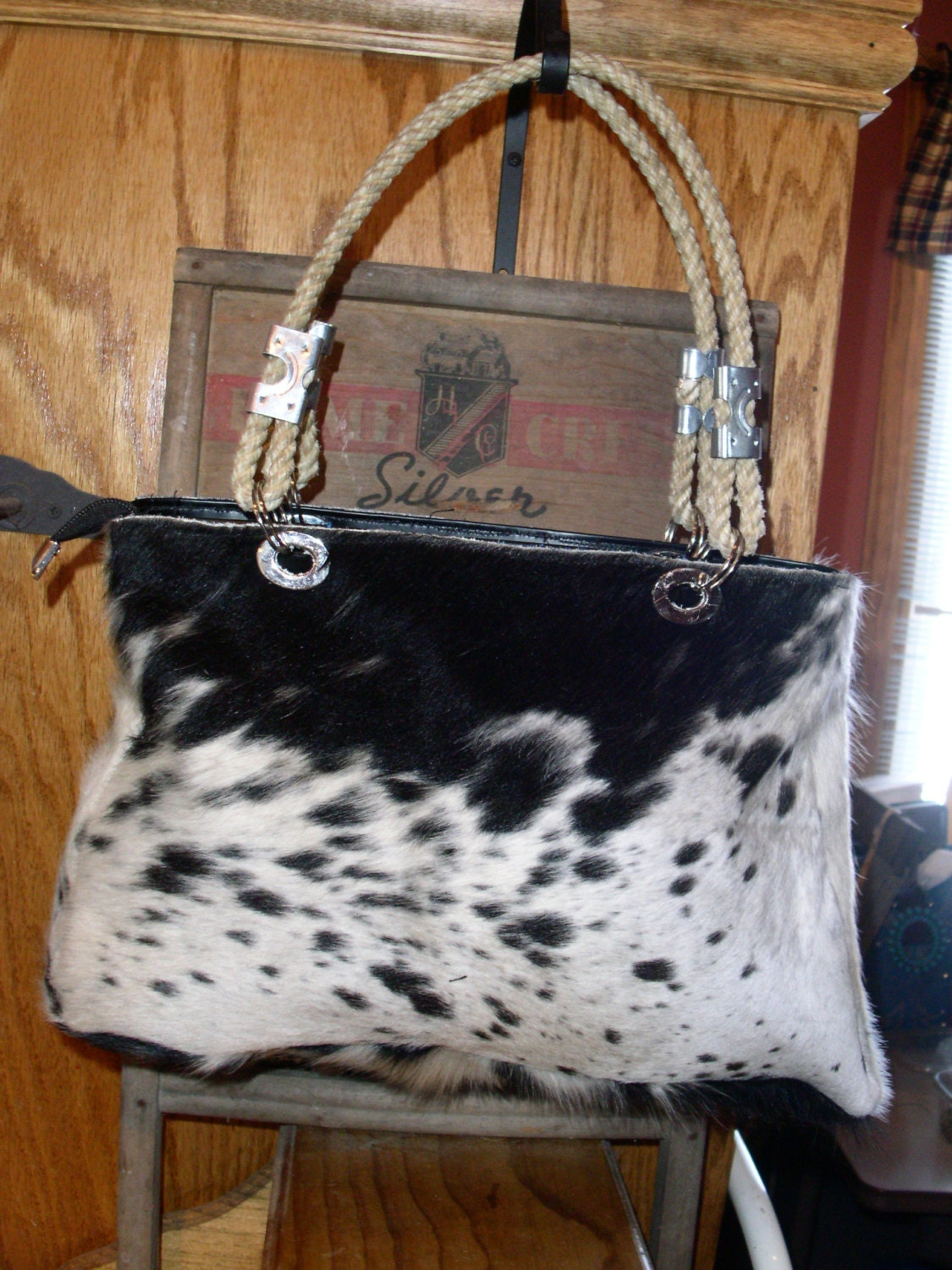 Black And White Cowhide Purse With Lariat Handles