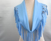 T-Shirt scarf with fringe in Powder Blue