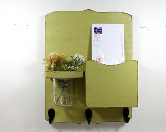 Mail organizer, floral vase, mail holder, key hooks, vintage, sconce, home organizer, shabby chic, home decor,painted Light Avocado