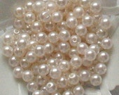 Beads Plastic White 6mm Round 35 pcs pearl-shell