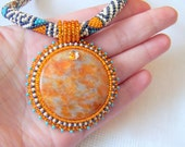 Beadwork Bead Embroidery Pendant Necklace with Orange Calcite - ORANGE DREAM - grey - beige - lutita