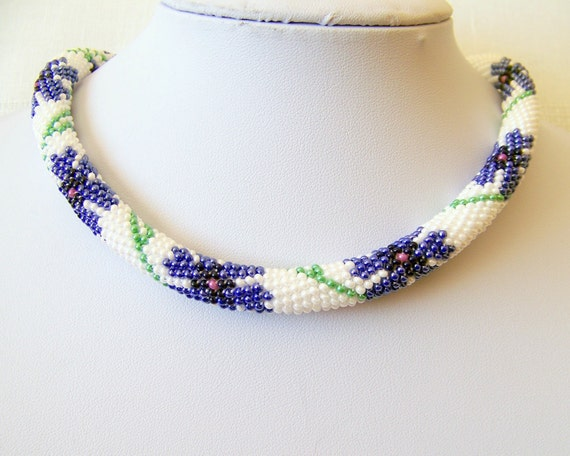 Beaded Crochet Necklace - Beadwork - Seed beads jewelry - Cornflower - Elegant
