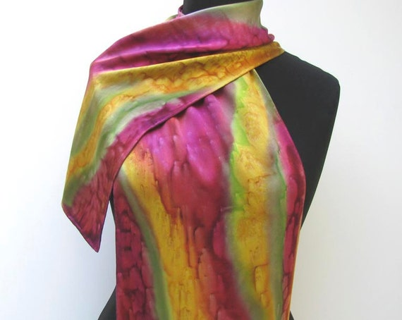 Unique Hand Painted SILK SCARF in Mauve Burgundy Plum Olive Gold