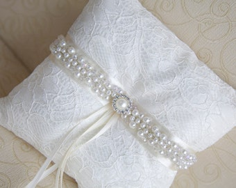 Ring Bearer Pillow, Ivory Bridal Pillow. Ready to ship.
