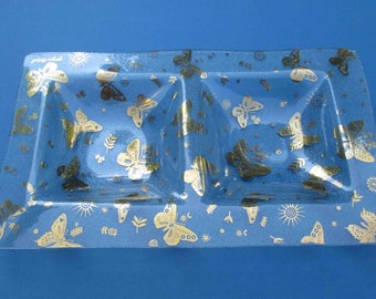 Large Georges Briard Retro Double Well Golden Butterflies on Pebbled Glass Vegetable Serving Tray - Shipping Included