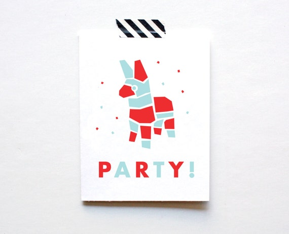 Piñata, Birthday Party, Happy Birthday Card, Blue and Red