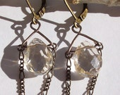 Faceted glass drop earrings with antiqued brass chain