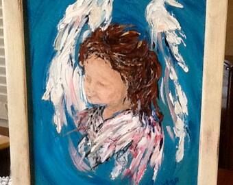 Little angel, framed acrylic on canvas