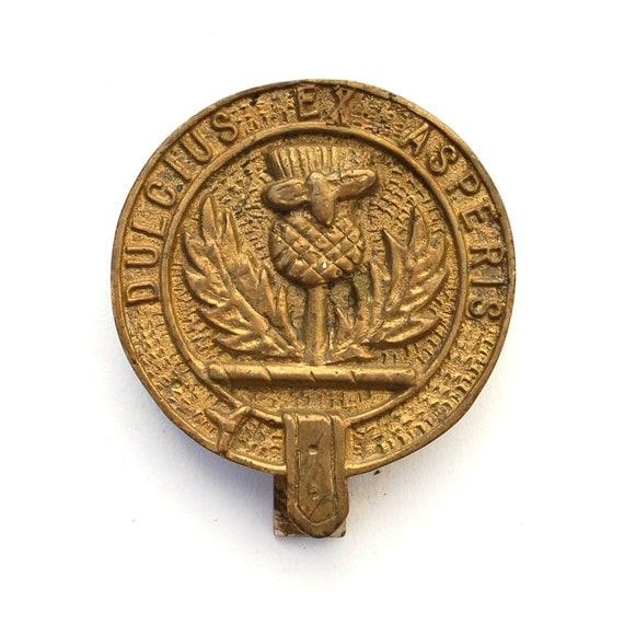 Antique Clan Ferguson Door Knocker Dulcius Ex Asperis Brass