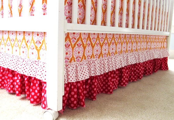 "RESERVED FOR corey1013 - Sweet and Sassy ""Raspberry Sunshine"" 4 Piece Ruffled Crib Bedding Set"