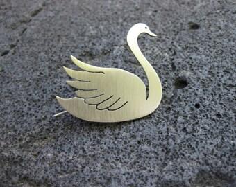 Swan Brooch - Handmade - Nickel Silver, Brass or Copper
