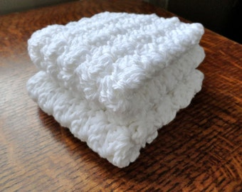 Cotton Crochet Dishcloths -- Set of Two Square in White