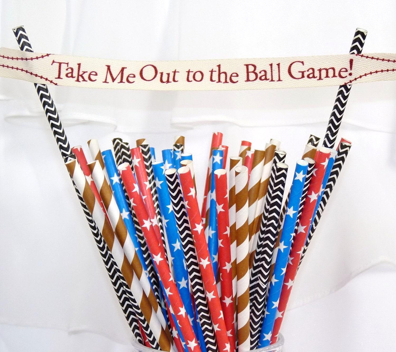 BaseBall Gameday Paper Straws 80 Referee Black Chevron Ball