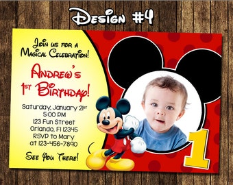 Mickey Mouse Baby Boy 1 1st First Birthday Party Photo Invitations Classic Clubhouse - Printable