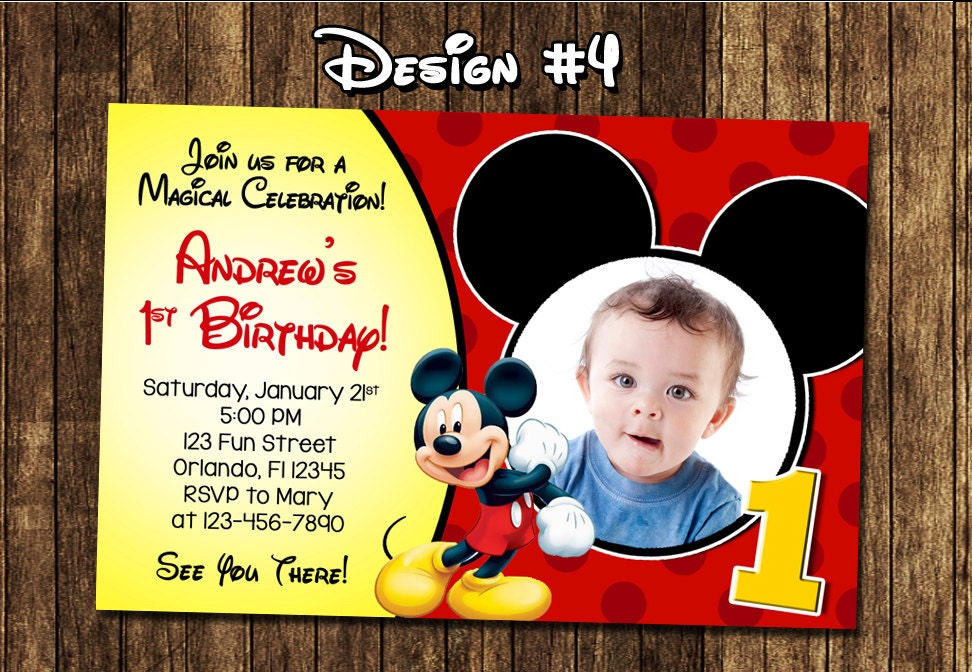 Mickey Mouse Baby Boy 1 1st First Birthday Party Photo – Baby Mickey First Birthday Invitations