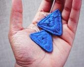 Blue Thread Wrap Coiled Triangle Earrings w/ Waxed Hemp Cord