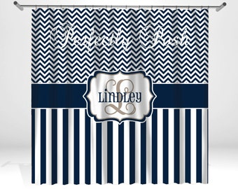 Personalized Chevron Shower Curtain
