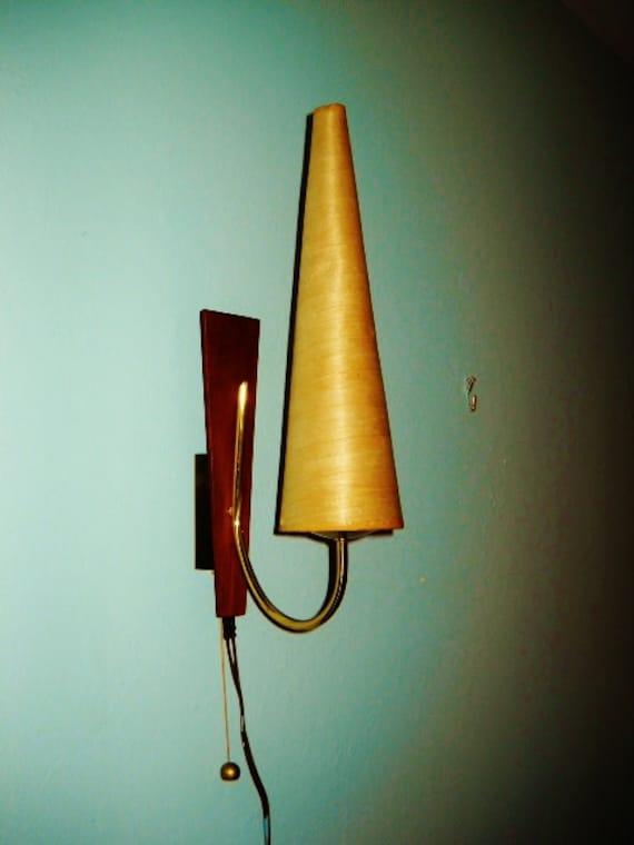 DANISH MODERN Wall SCONCE teak brass cone shade hard wire