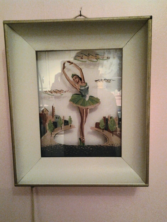1950s Ballerina Picture Light Reverse Painted Shadow Box Metal