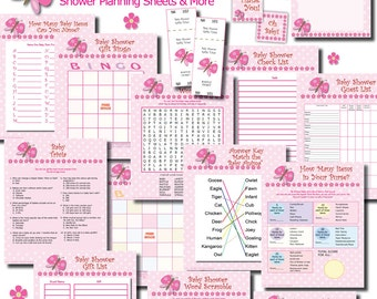 INSTANT DOWNLOAD Butterfly Girl Baby Shower Printable VALUE Game Pack Favor Tags Raffle Thank You Cards