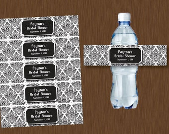 Instant DOWNLOAD Black and White Damask Water Bottle Labels Printable Personalizeable Bridal Shower Wedding Birthday Party Favors