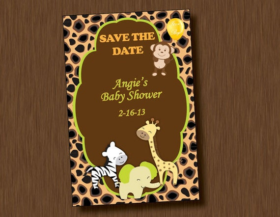 Printable Baby Shower Save The Date Invitation Jungle Animal