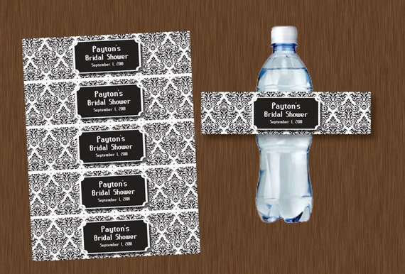 Instant DOWNLOAD Black and White Damask Water Bottle Labels