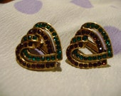 Metropolitan Museum of Art Interlocking Heart Shaped Clip On Earrings with Red and Green Stones